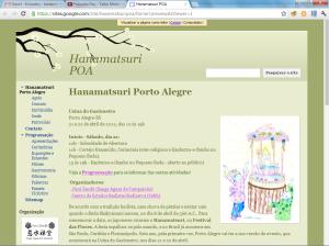 Tela inicial do site Hanamatsuri POA