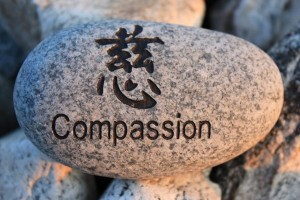 Positive reinforcement word Compassion engrained in a rock